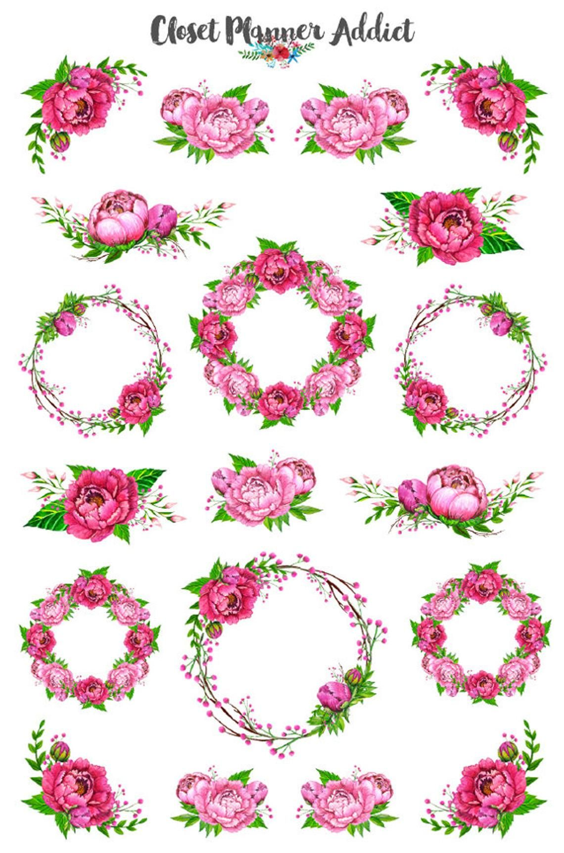 Pink Peonies Planner Stickers Watercolour Stickers Peony