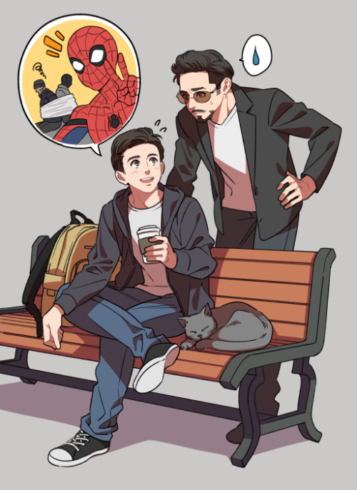Peter and tony lol i love these stories tom holland pinterest marvel spider man and spider - Tony parker dessin anime ...
