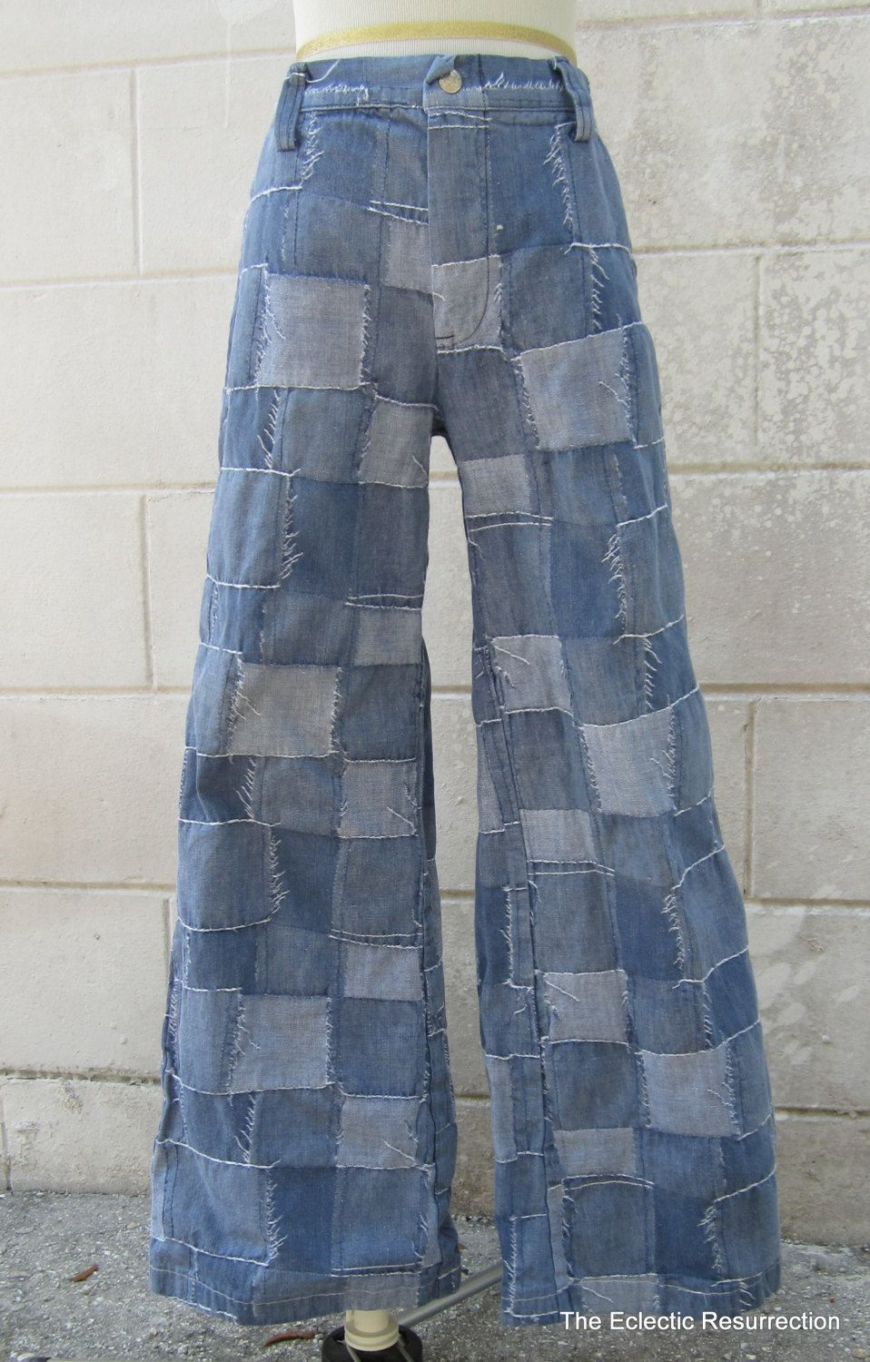 Vintage Patchwork Demin Bell Bottom Jeans 1970s Size Small