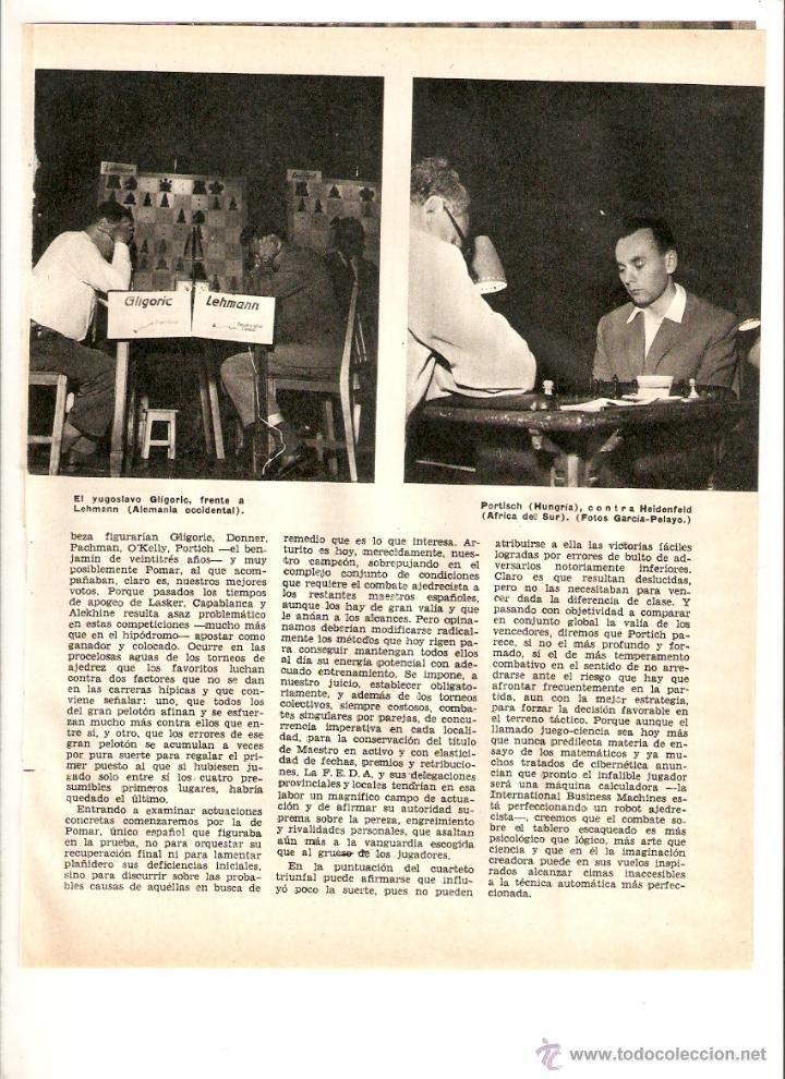 Coleccionismo: AÑO 1960 RECORTE PRENSA DEPORTES AJEDREZ ARTURO POMAR DONNER GLIGORIC CAMPEONATO MUNDIAL EMPATE - Foto 2 - 49081780