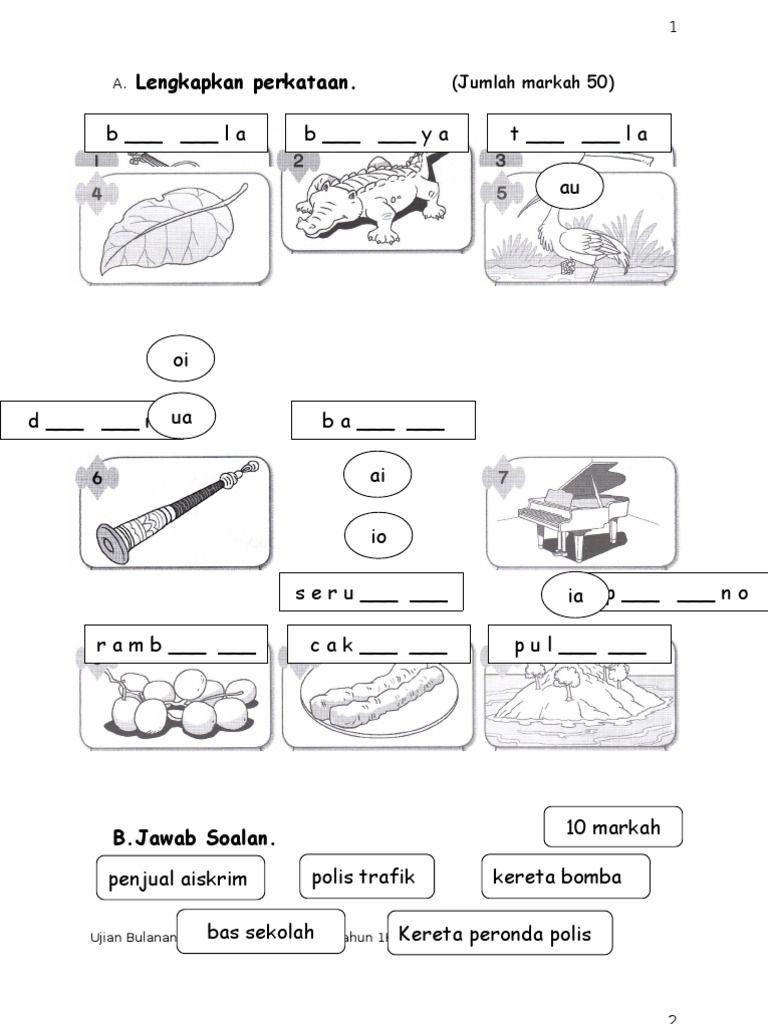 Ujian Bulanan Bahasa Malaysia Kssr Tahun 1 2011 Di 2020 Bahasa Belajar Lembar Kerja