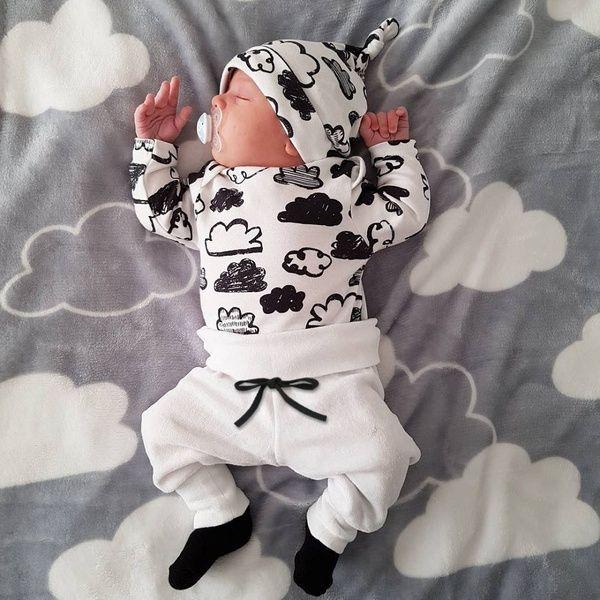 Newborn Infant Baby Girls Boys Cloud Romper Tops Pants+Hat Outfits Clothes Set