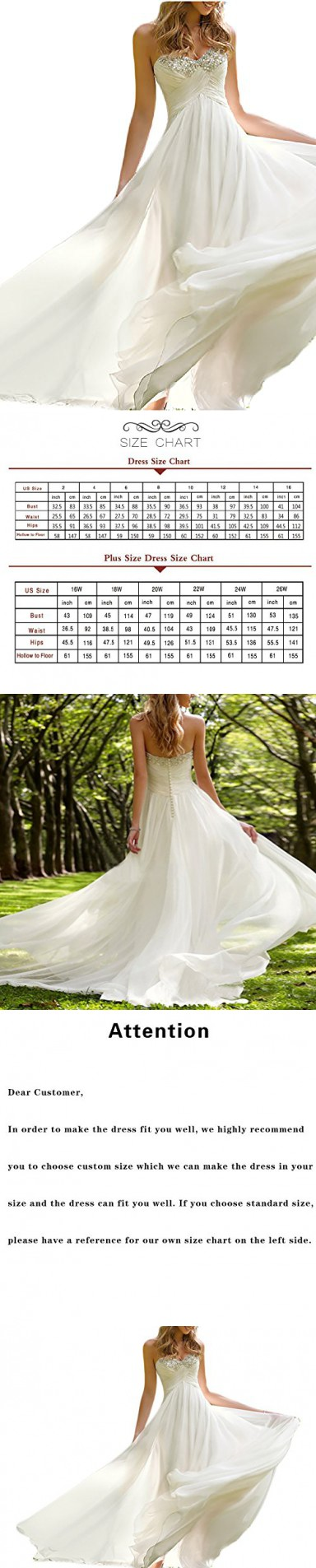 2dd63d49cf7 Favors Dress Women s Sweetheart Beach Wedding Dress Bead Bridal Gown Empire  Ivory ...