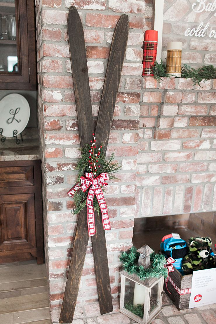 Diy Farmhouse Fence Post Skis Wooden Ski Decor Christmasdecor