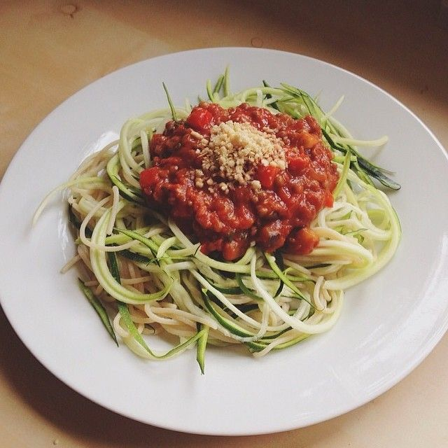 first serving - brown rice spaghetti and #zoodles with a vegetable-tomato-sauce and nutritional yeast  #vegan #Padgram