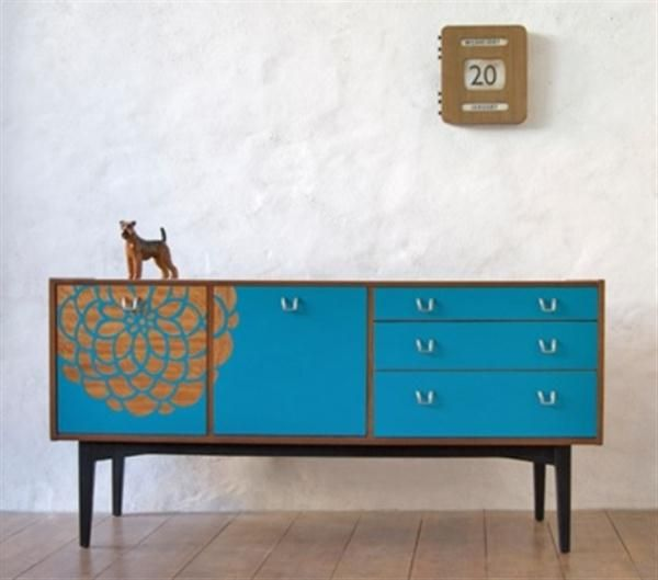 Beautiful Mid Century Sideboard In Blue Color With Flower Painting On It  Door