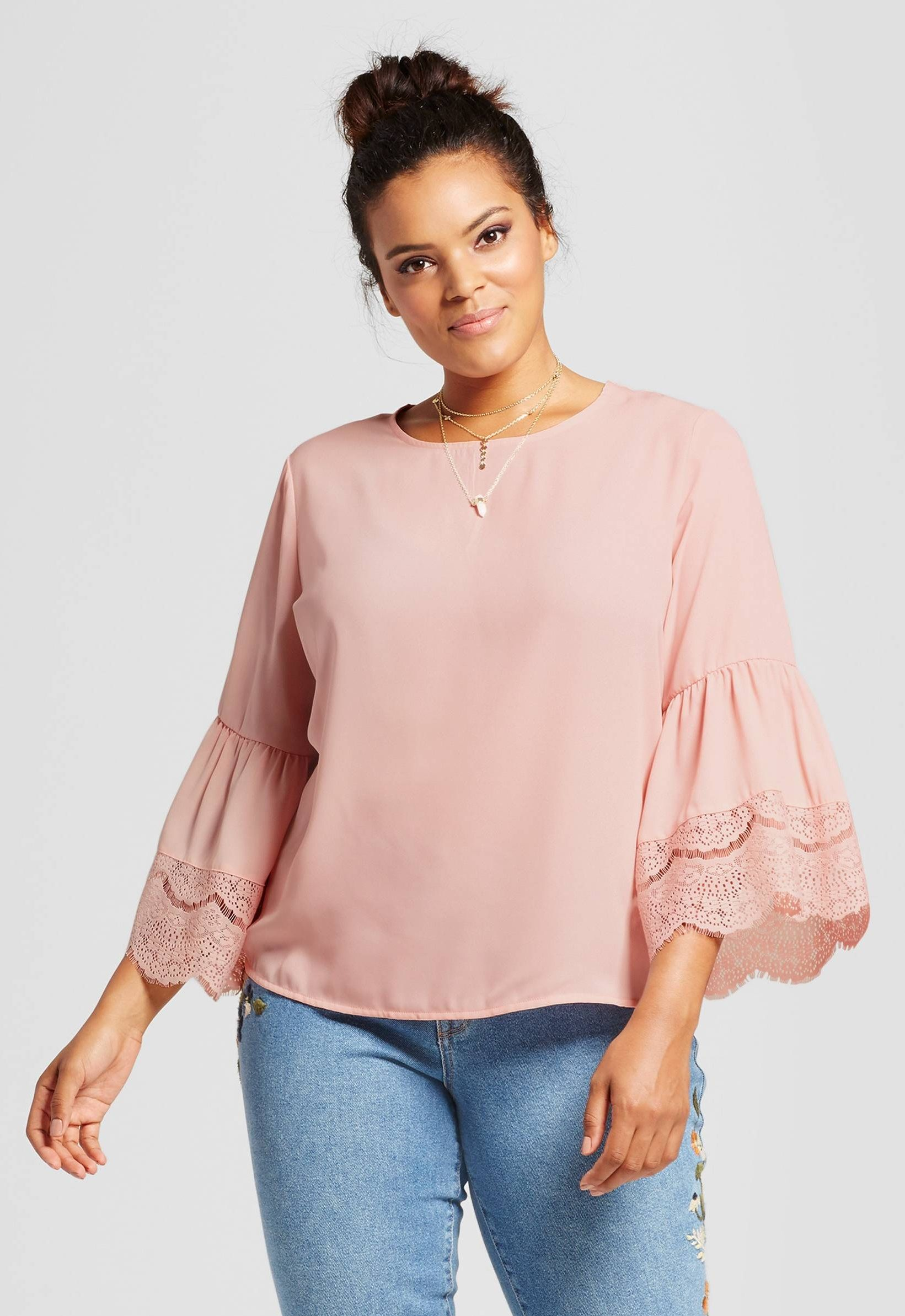 967f506e816b88 Plus Size Lace Bell Sleeve Blouse | Outfits in 2019 | Plus size ...
