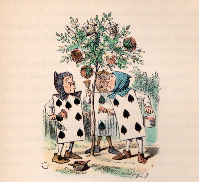 Two, Five, and Seven painting the rosebush - Alice's Adventures in Wonderland by Lewis Carroll, illustrated by John Tenniel with illustrations colored by Fritz Kredel (1946 edition)