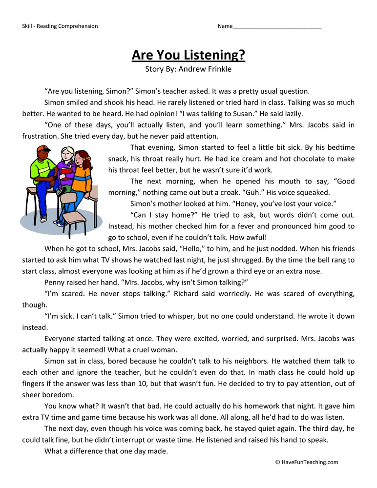 Are You Listening? Reading Comprehension Worksheet 4th Grade Reading  Worksheets, Reading Comprehension Worksheets, Reading Comprehension
