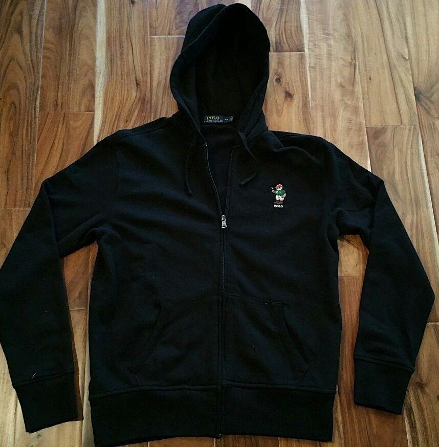 Polo Ralph Lauren Bear Black Zip Up Hoodie Jacket Men's
