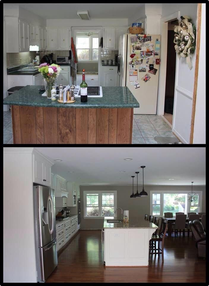 Remodel before and after pictures. Knocked out walls to opened up the floor plan and extend the ...