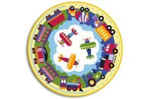 """Trains, Planes & Trucks OLIVE KIDS 39"""" Round Rug by Trains, Planes & Trucks. $54.99. Made in Egypt. 100% Nylon, hand carved rug, bacterial resistant, durable, with a bold color palette. Spot clean using mild soap & water or dry powder rug cleaner. Not machine washable. 39"""" ROUND RUG"""