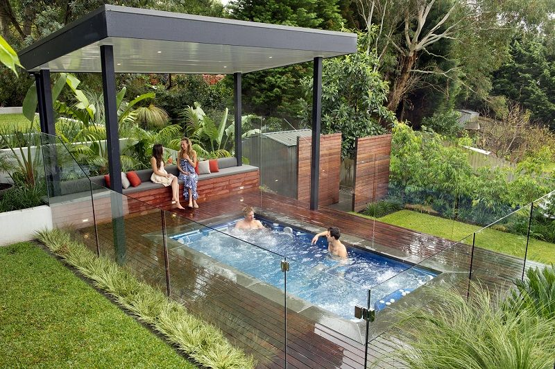 Spa Small Inground Pools Pergola