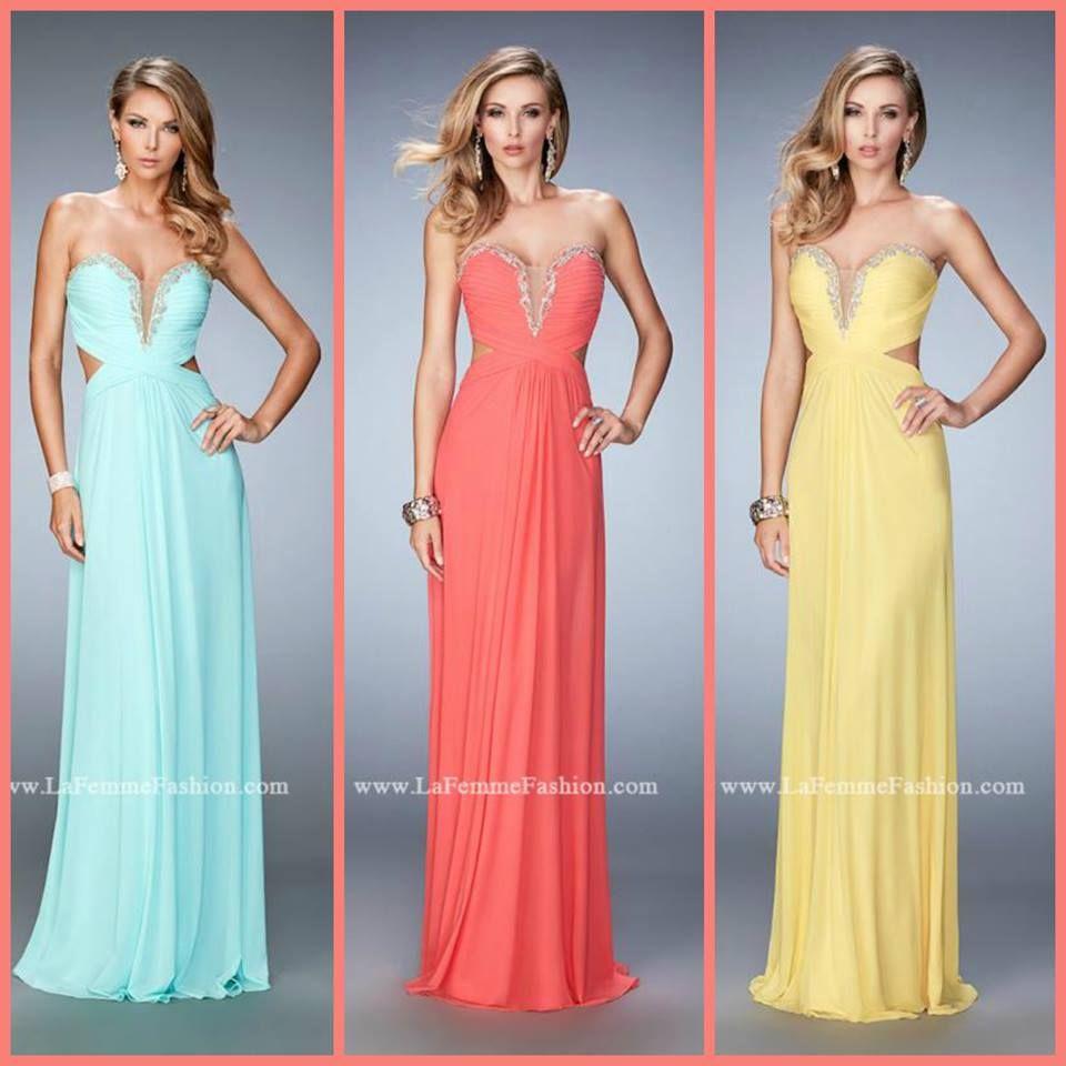 La Femme 22196 long prom dress - mint prom dress - coral prom dress ...