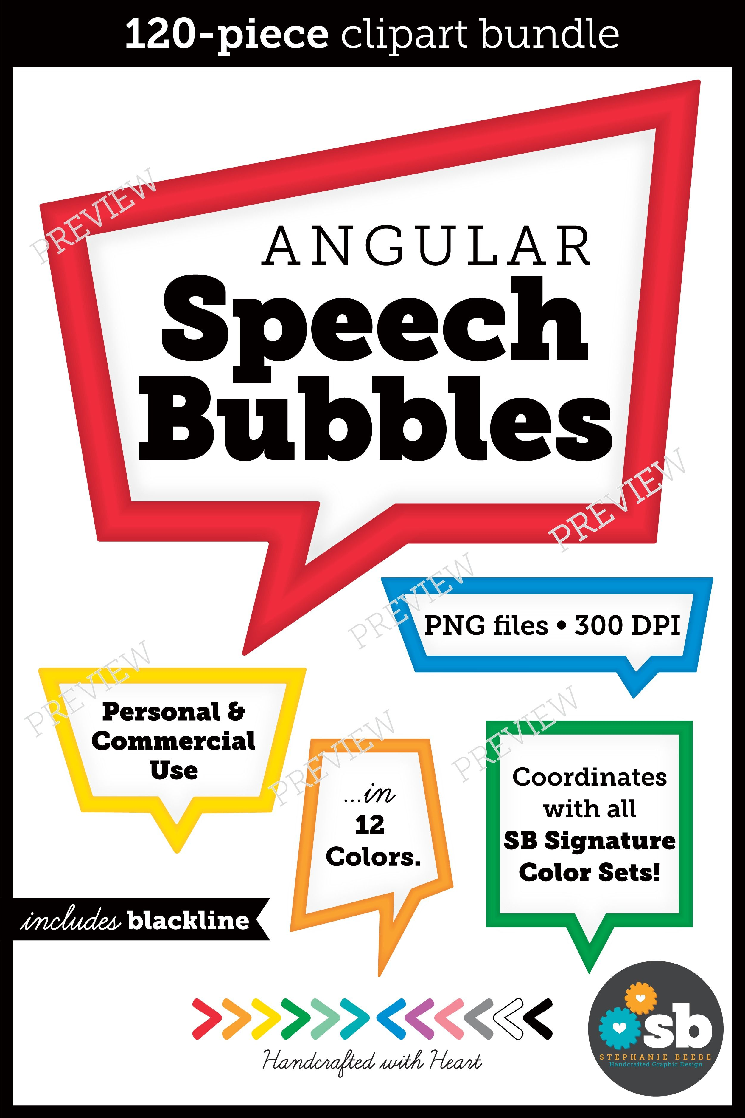 120 Angular Speech Bubbles Clipart Bundle Personal And