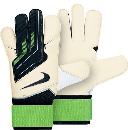 Nike GK Vapor Grip 3 Soccer Goalie Gloves - White/Green-10 by Nike. $119.95. Soccer Goalkeeper Gloves Buyers Guide >The Nike GK Vapor Grip 3 Soccer Goalie Gloves deliver world-class performance with patented Grip3 Technology Wrapped thumb, forefinger and picky for maximum all-around grip. These goalkeeper gloves are super lightweight with a ventilated mesh design at the backhand and between the fingers for extra breathability. Nike's 4mm Contact foam offer superb gr...