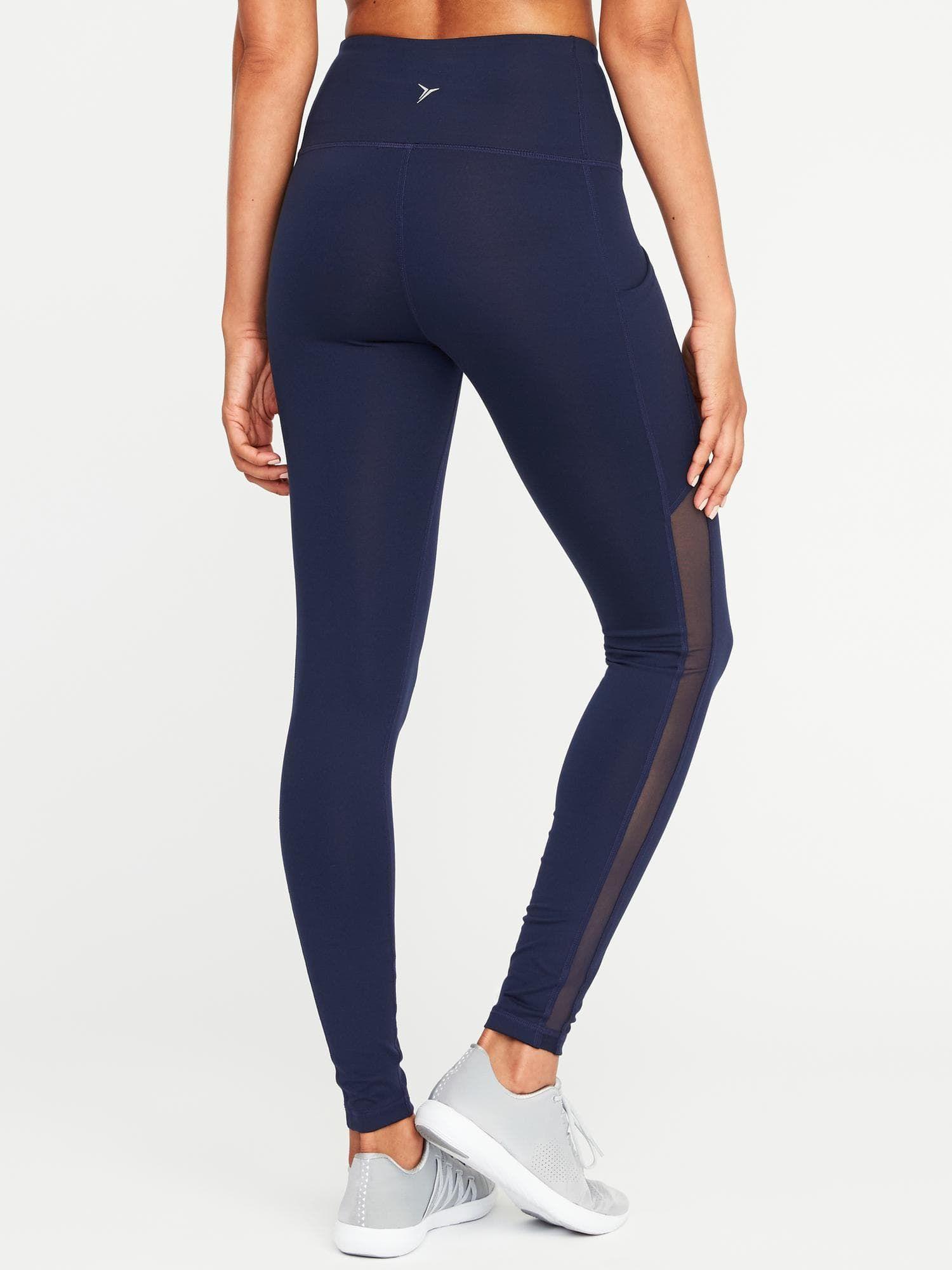 2b5b6e8b3e54 High-Rise Side-Pocket Mesh-Trim Compression Leggings for Women