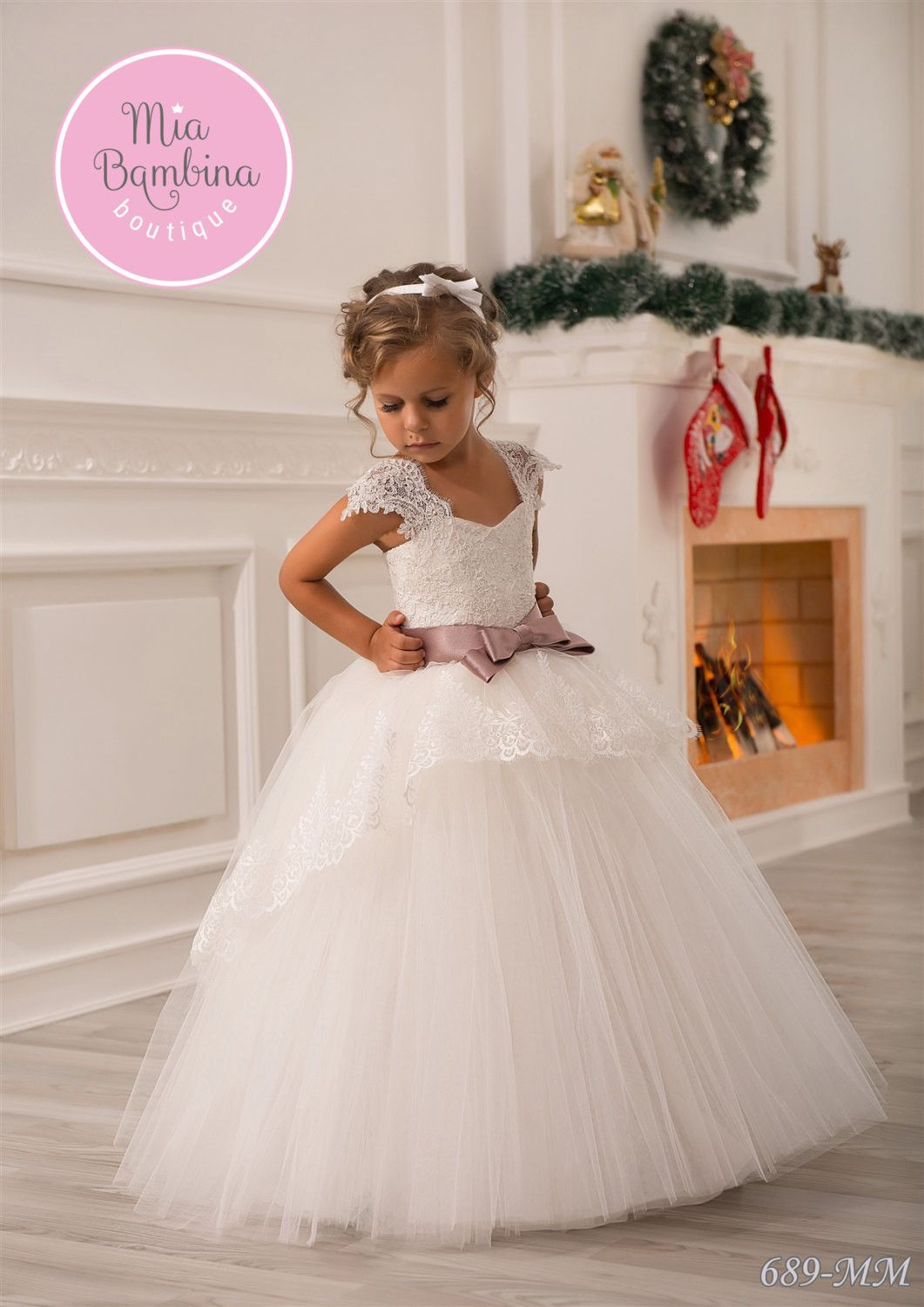 8ca0cdf4 A beautiful princess dress for flower girls from 1 year to 14 years old.  The tulle lace gown features a sweetheart lace corset bodice, wide lace  straps, ...