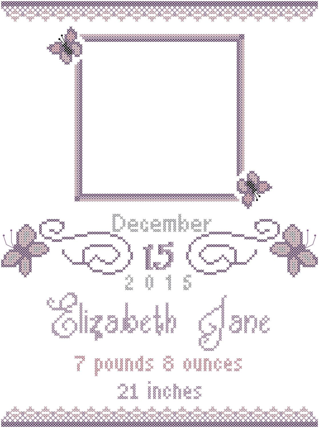 Butterfly Baby Birth Sampler Cross Stitch Pattern with space for ...