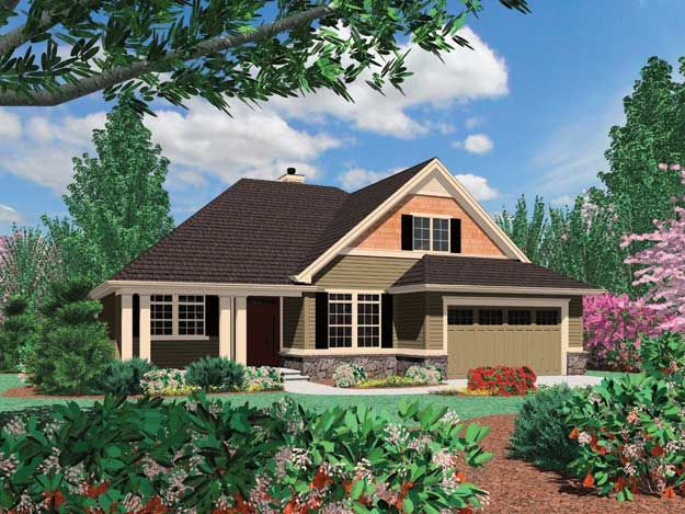 A Fine Example Of Arts And Crafts Influence This 1 1 2 Story Home Has A Covered Front Craftsman Style House Plans House Plans Craftsman House Plans