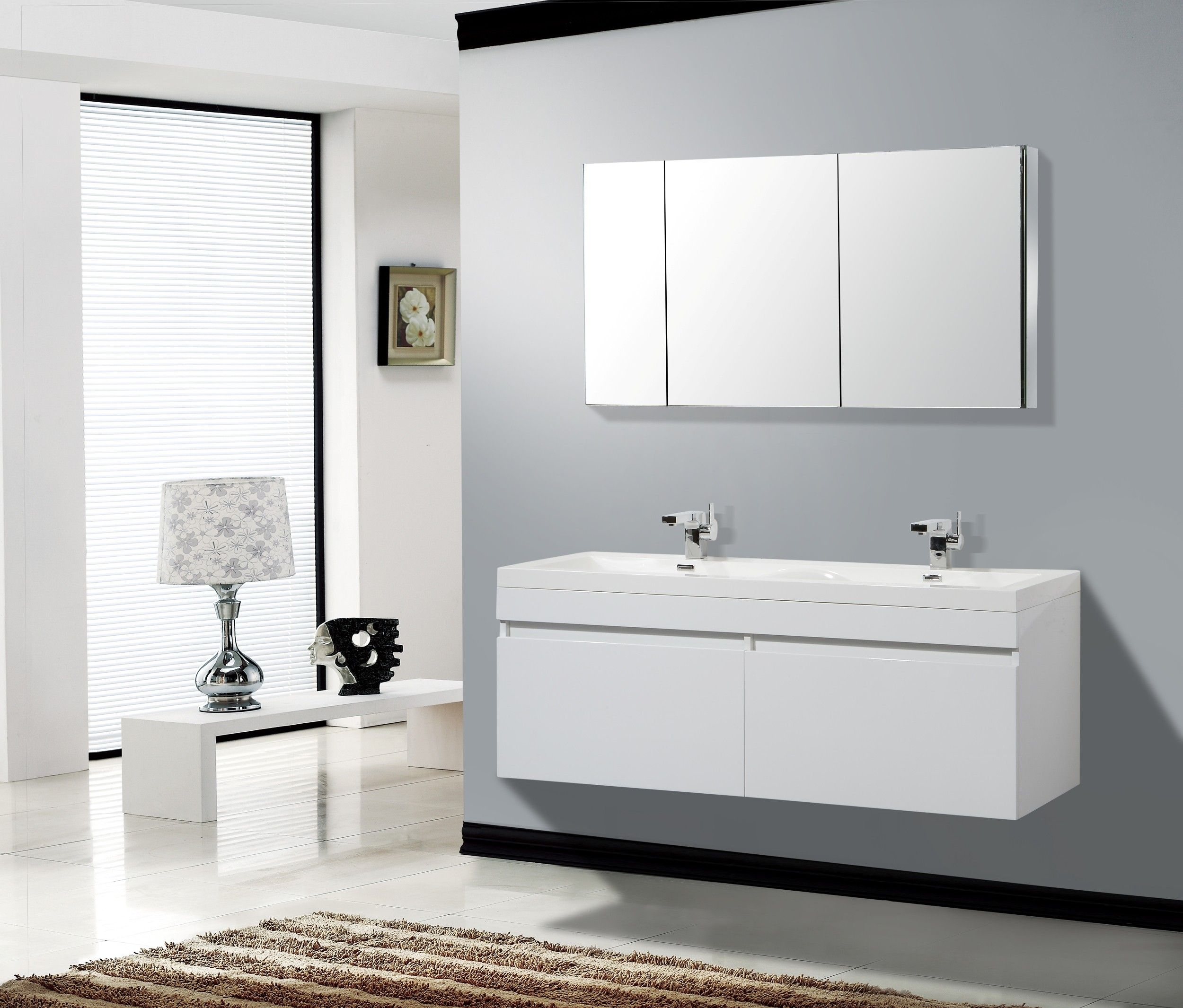 Aqua Decor Hailey 56 Inch Double Modern Bathroom Vanity Set W Medicine Cabinet White Modern White Bathroom White Vanity Bathroom Modern Bathroom Vanity