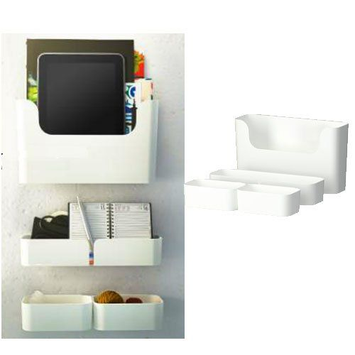 Ikea Pluggis 7 Piece Organizer Containers Set With Wall Mount Rails White  Ikea,http: