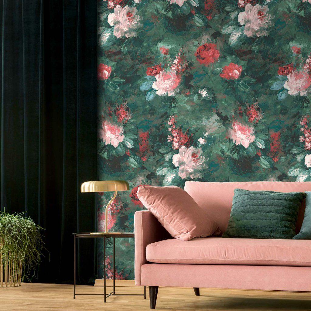 Ava Marika Emerald Wallpaper in 2020 Green floral