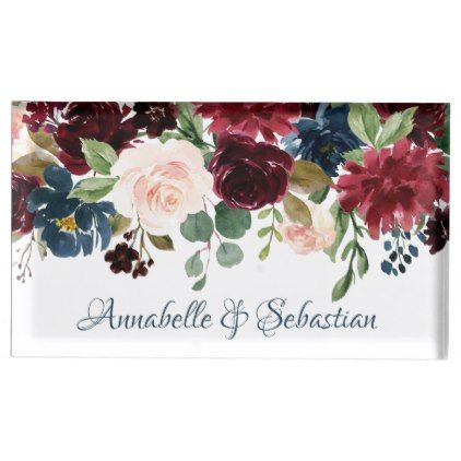 Burgundy Blue Watercolor Flowers Border Table Card Holder In 2018