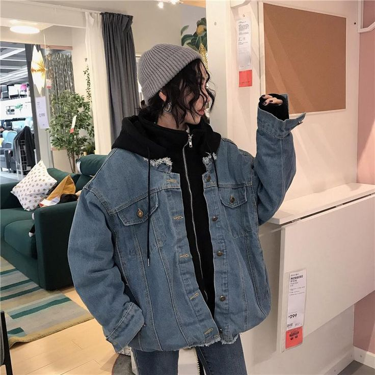 OVERSIZE DENIM HOODED THICK JACKET #koreanstyleclothing
