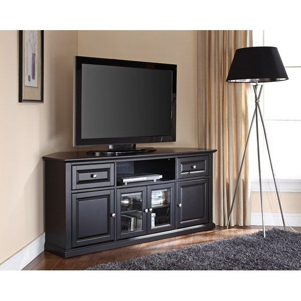 Black Finished Corner Tv Cabinet Idea A Floor Light Fixture With Tall Legs And Lampshade