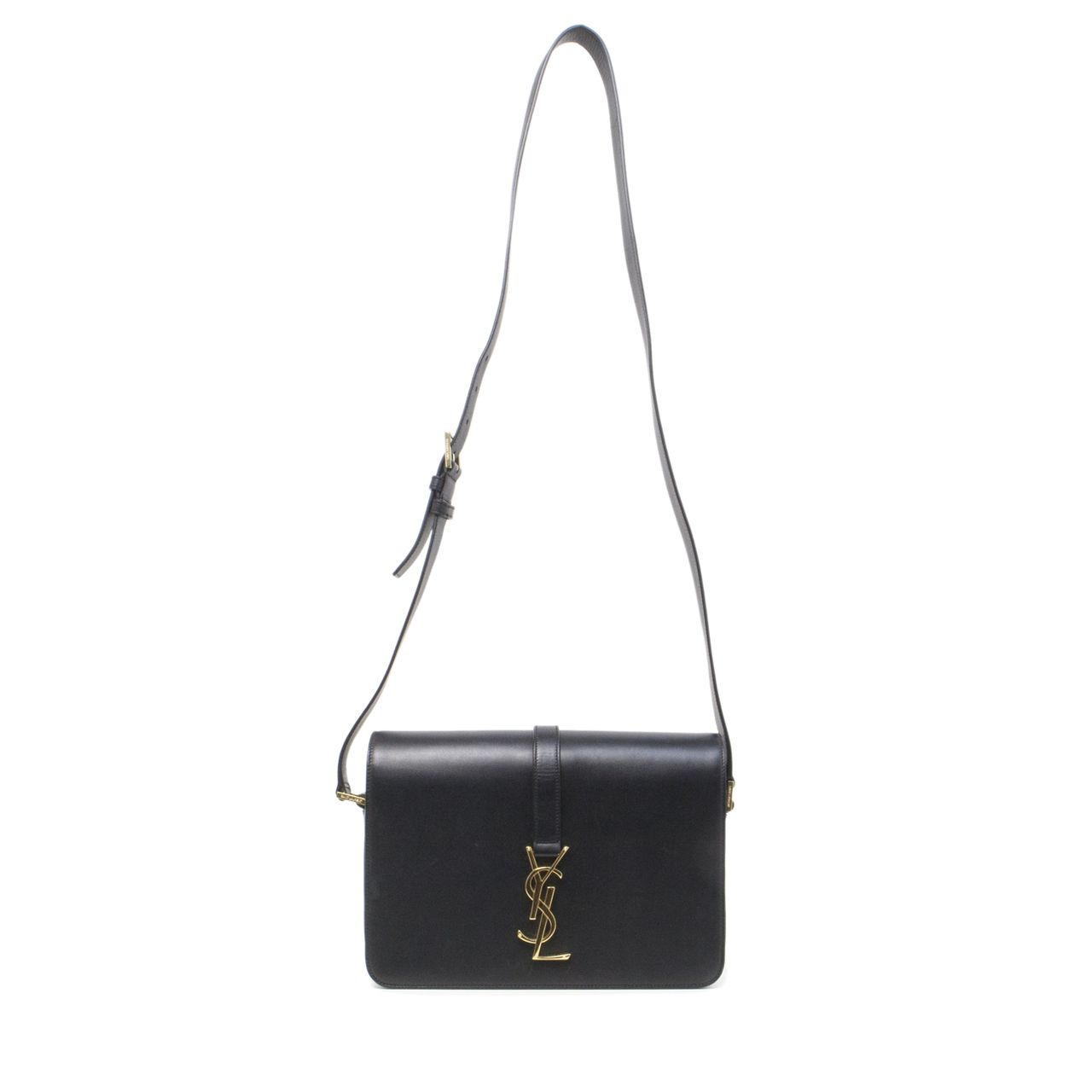 745876d843fbf Saint Laurent Black Smooth Calfskin Monogram Sac Universite Medium Shoulder  Bag - modaselle