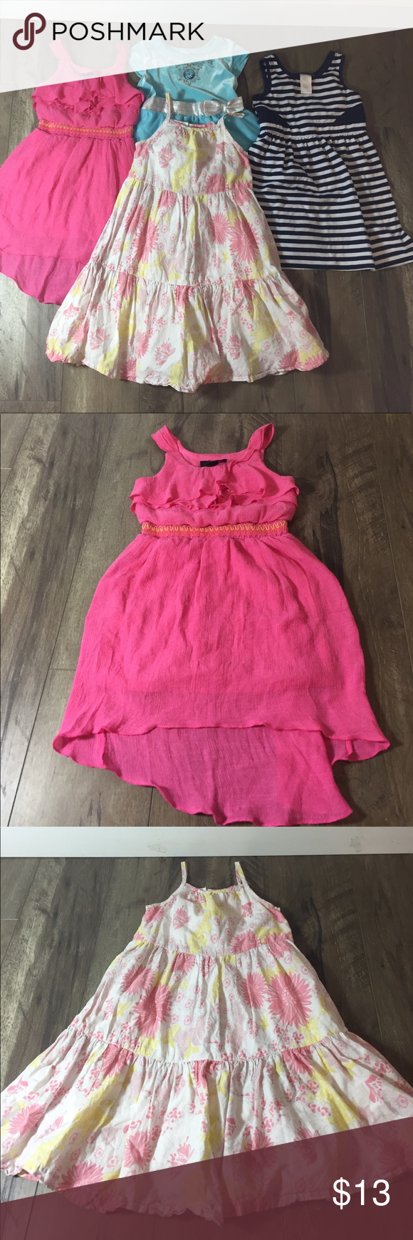 4 Dresses size 5t Old Navy, iZ byer, Disney, Dis.. Here are 4 Used dresses in good condition. Perfect for summer. They are all size 5. Included in this Lot is a pink iz byer dress, white and blue striped Disorderly Kuds dress, blue and silver Disney Elsa dress, and a spaghetti strap Old Navy dress. Dresses Casual