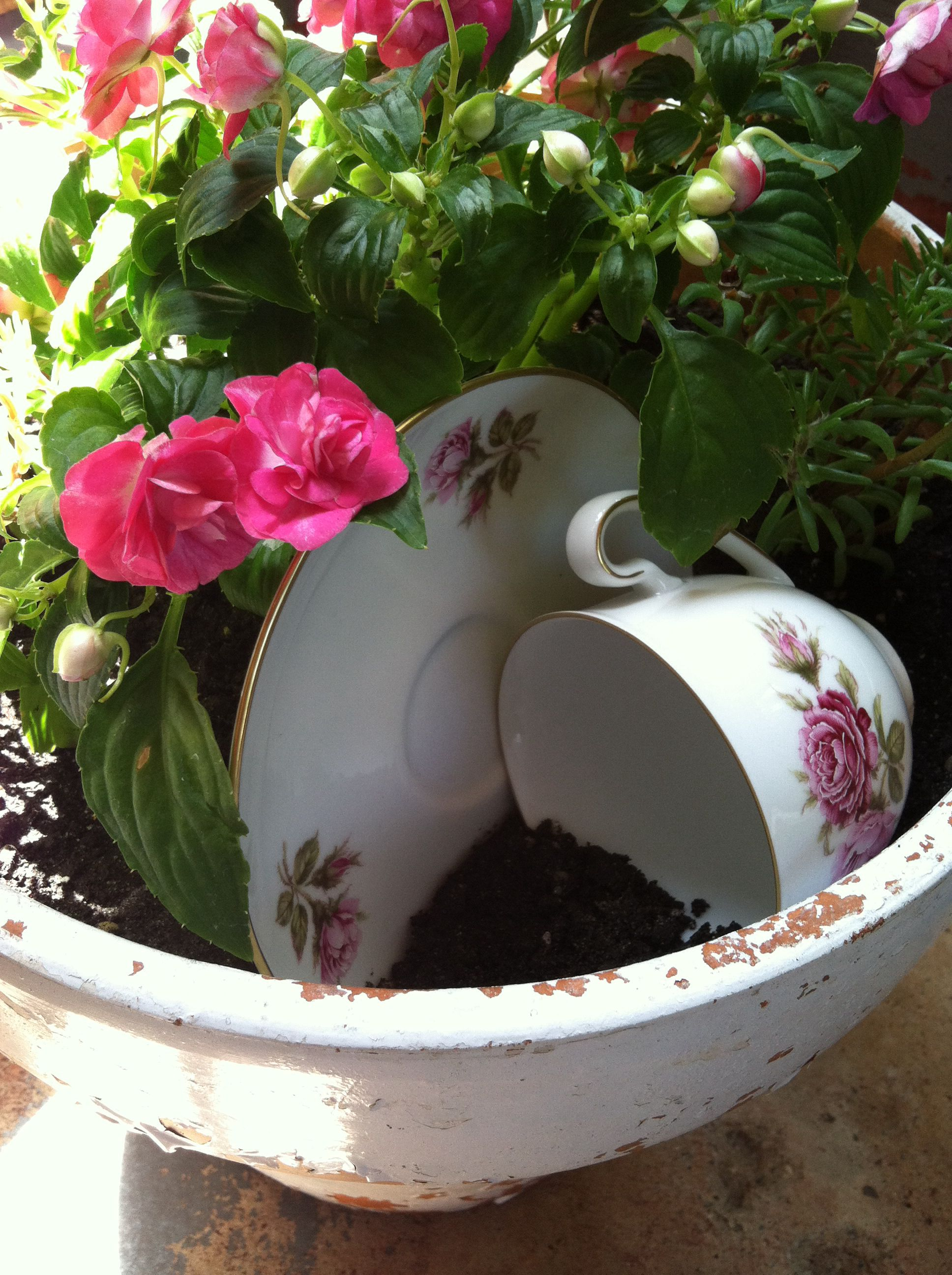 CHIPPY white pot with a VINTAGE TEAcup/saucer added with {LOVE}