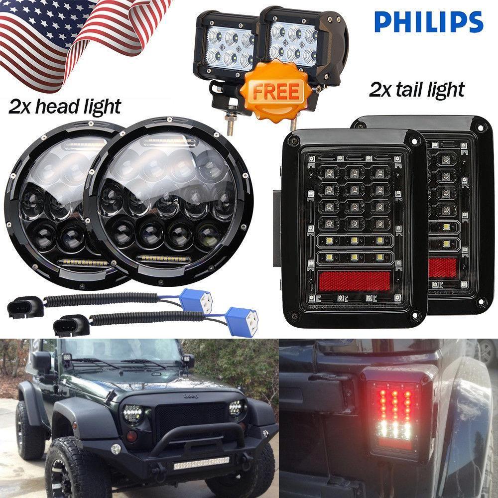 "7/""150W Color Change RGB Angel Eyes HeadLights For Jeep Wrangler JK TJ H1 H2"