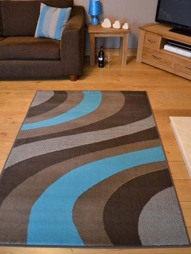 Trend Chocolate Brown And Teal Blue Wave Rug. 8 Sizes Available (200cm x  290cm