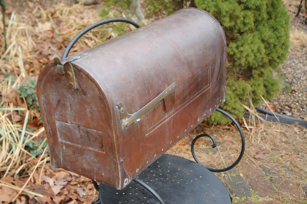 Vintage Post Mount Copper Mailbox Oversized Heavy Smith Hawken