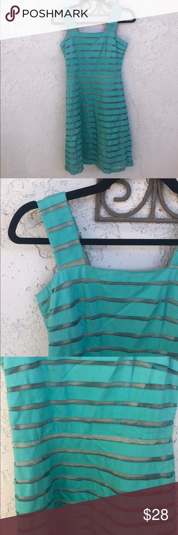 Adrianna Papell Turquoise Mesh Striped Dress As seen on