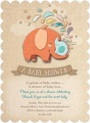 Crafted Cuties Baby Shower Invitations Hallmark Tangerine