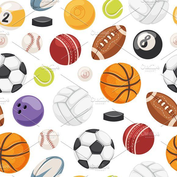 Sport Balls Seamless Pattern Graphics Vector American Match Graphic Activity Basketball