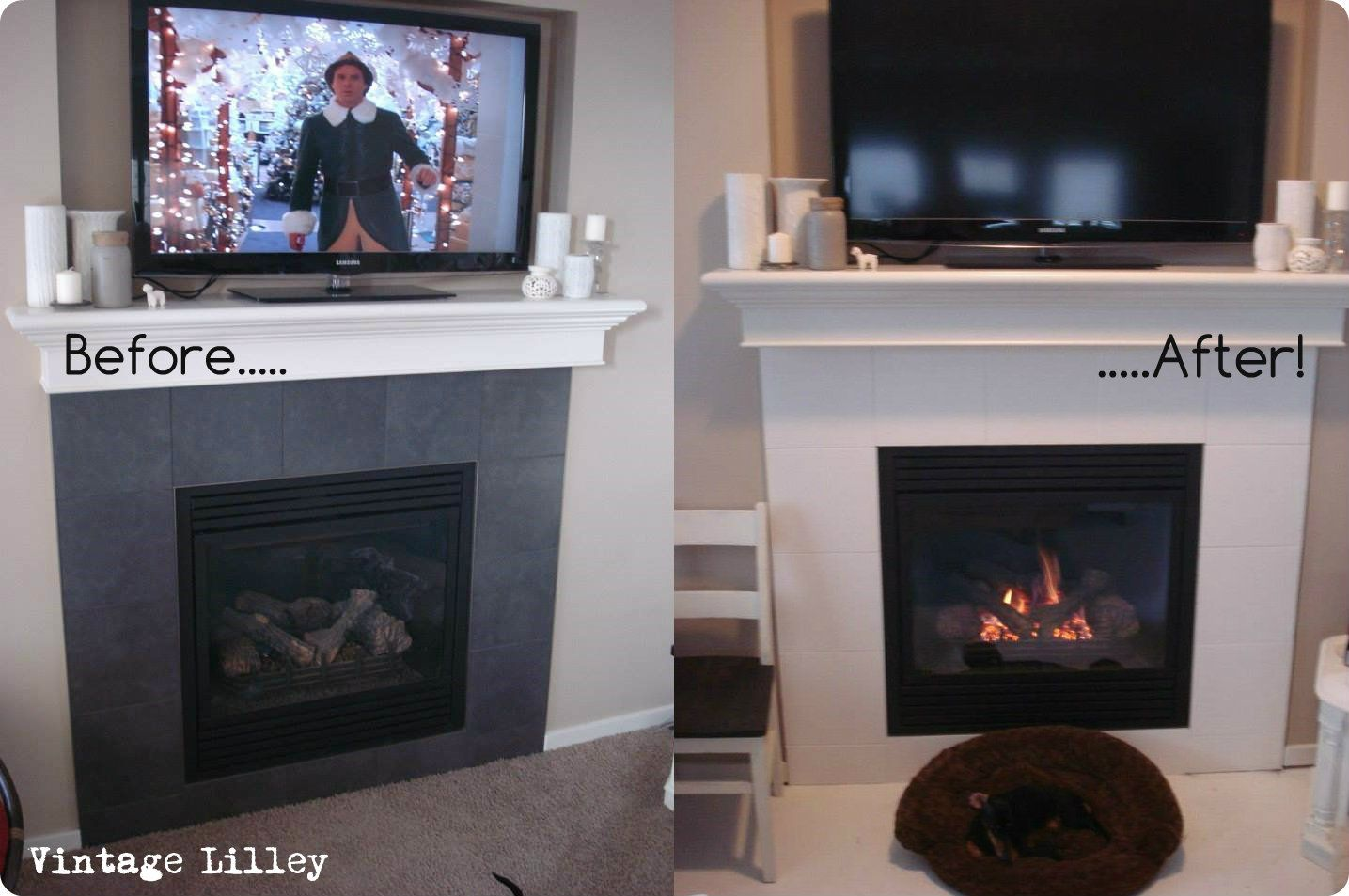 Painted fireplace tiles first lightly sand tiles then clean them painted fireplace tiles first lightly sand tiles then clean them really well with a dailygadgetfo Images