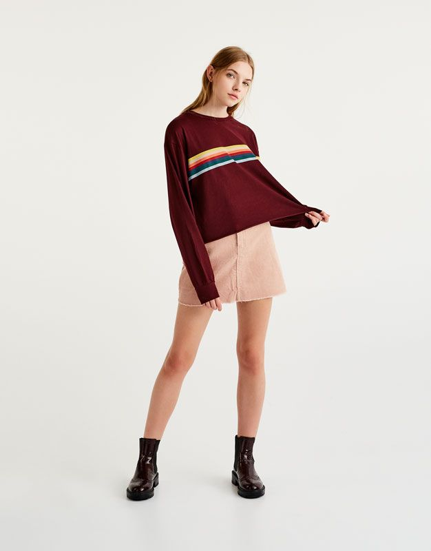 58771954e9 Long sleeve rainbow T-shirt - T-shirts - Clothing - Woman - PULL&BEAR Saudi  Arabia