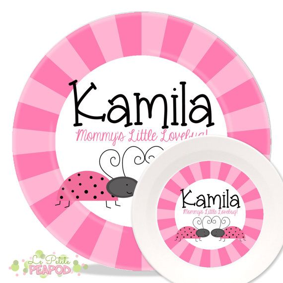 Personalized Melamine Plate and Bowl Set - Pink Ladybug Design by Le .  sc 1 st  Pinterest & Personalized Melamine Plate and Bowl Set - Pink Ladybug Design by Le ...