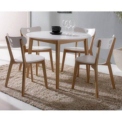 Mesa redonda cocina con 4 sillas blanca: Amazon.es: Hogar | cocinas ...