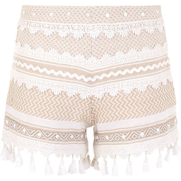 Dodo Bar Or White & Beige Cotton Moav Shorts (£160) ❤ liked on Polyvore featuring shorts, crochet shorts, cotton jersey shorts, white shorts, side zip shorts and white jersey shorts