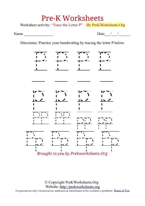 Pre K Tracing Worksheet P Pre K Worksheets Tracing Worksheets Preschool Name Tracing Worksheets Free preschool tracing worksheets pdf