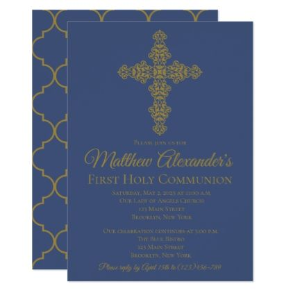 Gold and blue cross first communion invitation communion gold and blue cross first communion invitation communion invitations blue cross and communion stopboris Images