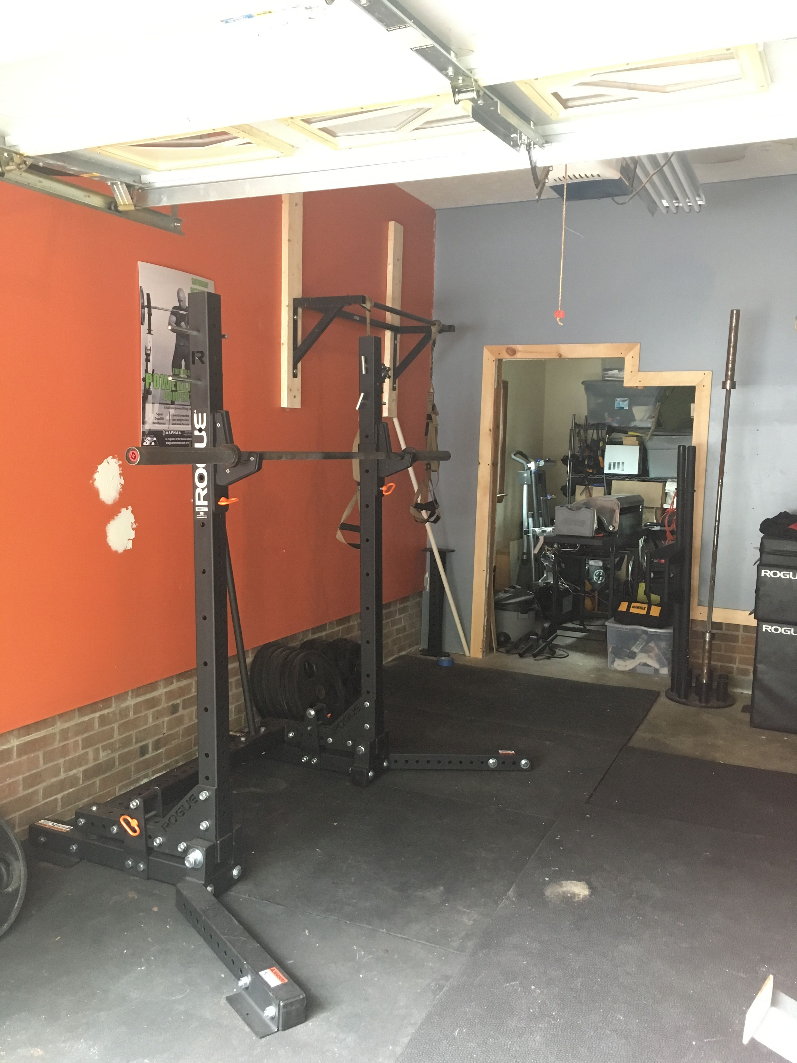 Simple space saver garage gym w mono stand by rogue fitness