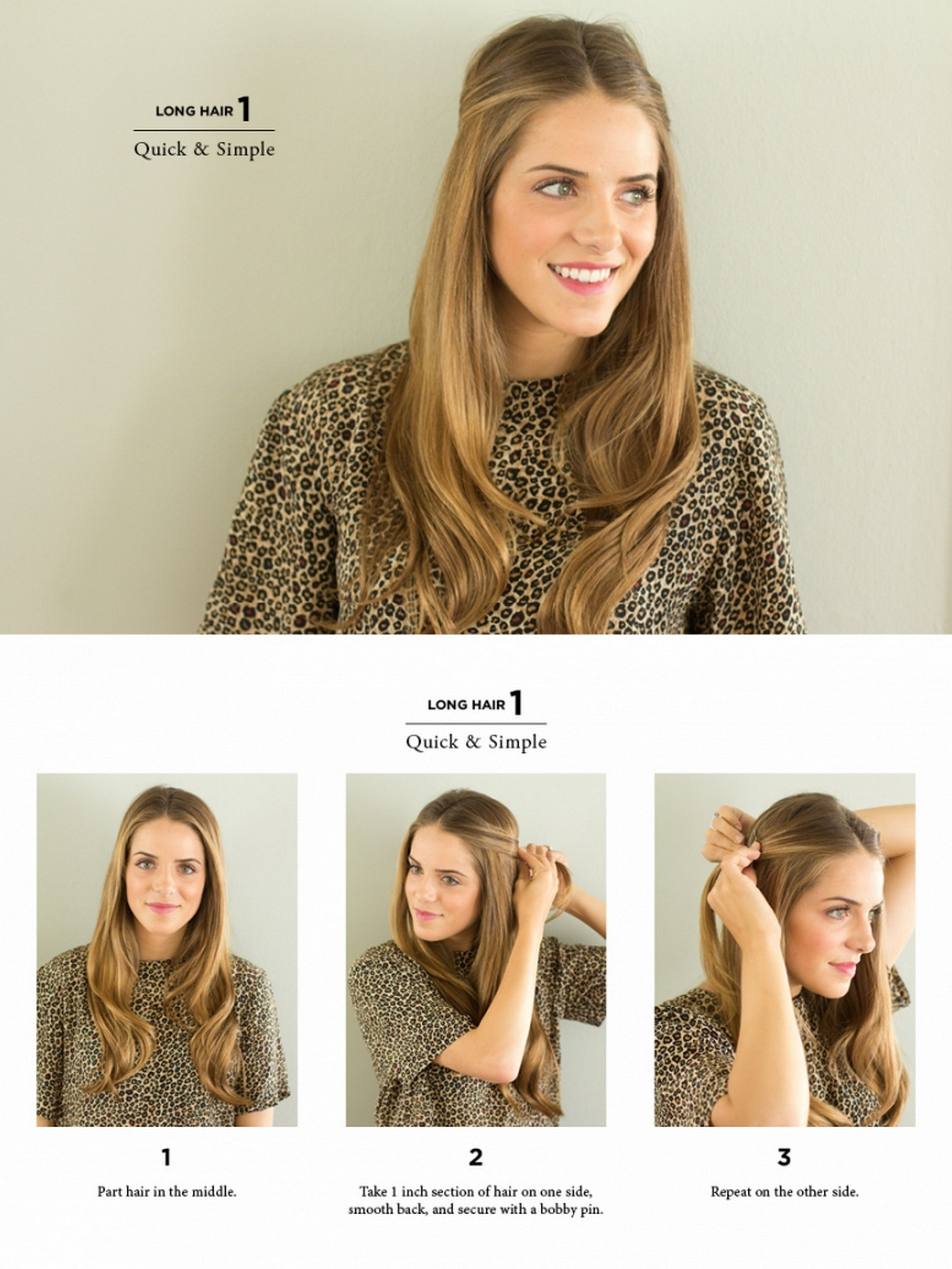 quick simple long style   Easy work hairstyles, Work ...