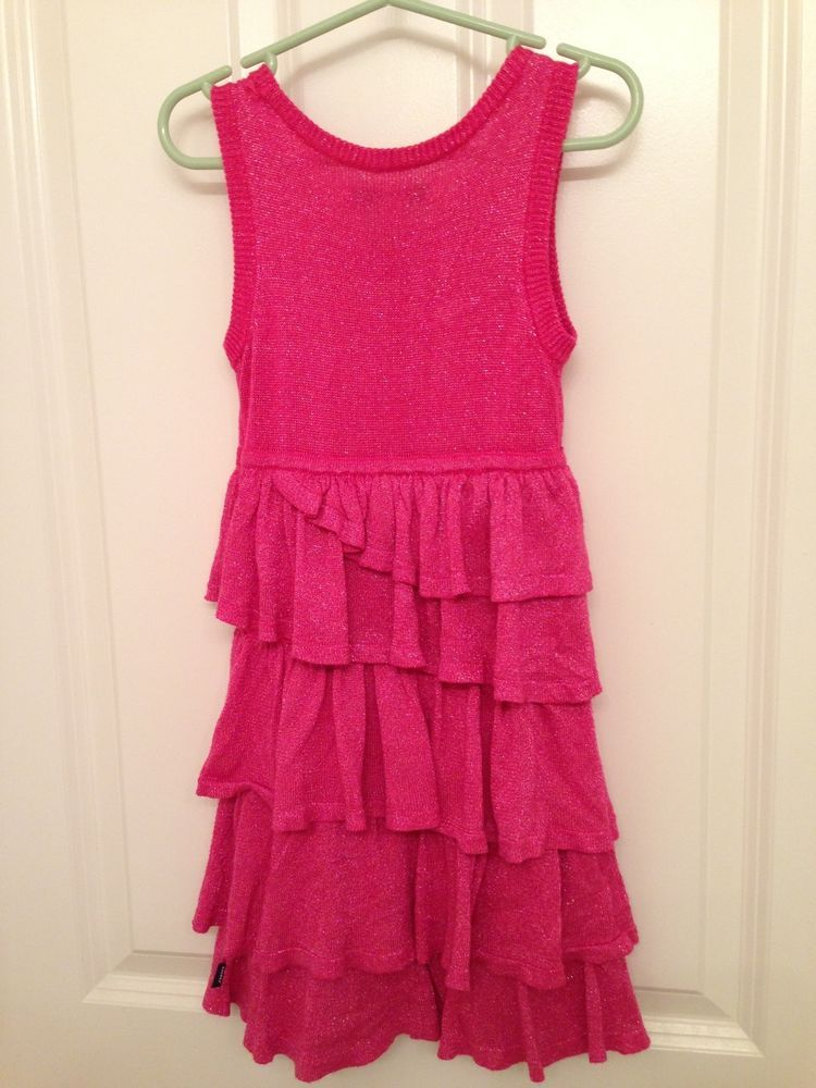 DKNY sweater shimmer ruffle tiered pink holiday dress 5 Girl #Dress