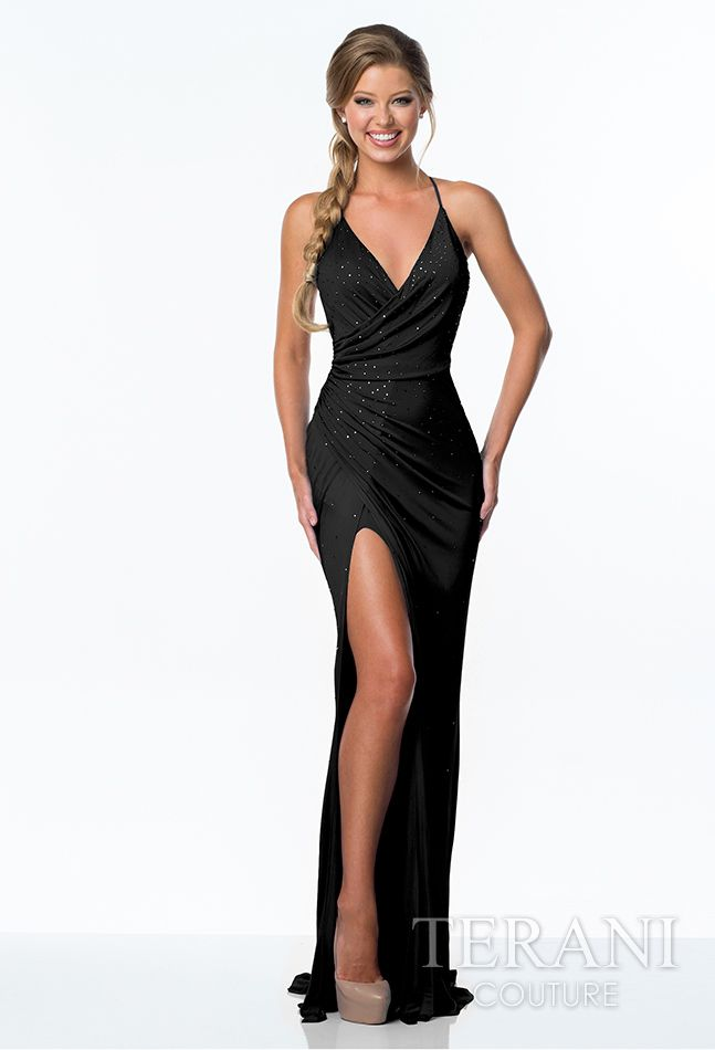 a2d6ff0755d Jersey chiffon wrap dress featuring light crystal embellishments along the  bodice